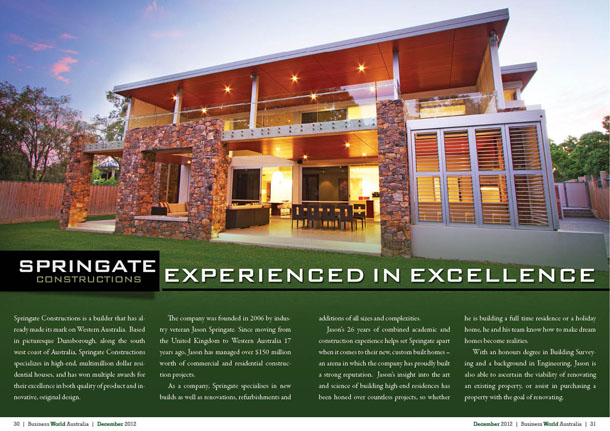 Springate Constructions – Experienced in excellence